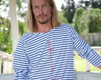 Men's Ringel Longsleeve Bootsmann blue white