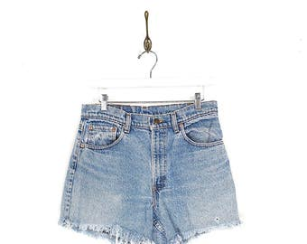 90s Levis Cut Offs - 90s Levis Red Tab High Waisted Faded Denim Shorts - 90s Grunge Frayed Faded Denim Jean Shorts Size 32W Made in USA