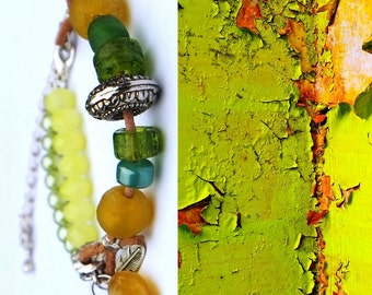 Yellow / green beaded bracelet with leather / Sundance style jewelry / Boho