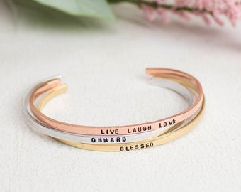 Inspiration Bracelet, Skinny Cuff Bracelet Quote, Personalized Cuff in Sterling Silver, Brass, Copper, Personalized Jewelry, Custom Bracelet