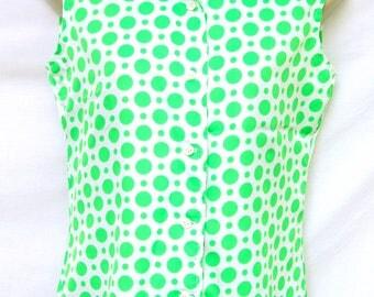Vtg Lime Green Polka Dot Sleeveless Top Womens White Summer Blouse 60s 70s Mod Clothing Vintage