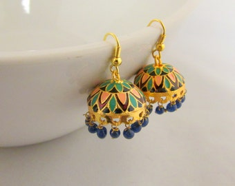 Meenakari Hand Crafted Small Lightweight Jhumka  Dangle Earrings