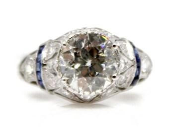 Antique Old Mine Cut Diamond and Sapphire Ring, Art Deco era, 1.88ctw, in white gold