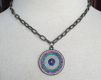 Gunmetal Pave Crystal Multi Color Evil Eye Disc Pendant on Textured Gunmetal Chain Choker