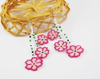 Gift\for\girlfriend great gift flower earrings pink jewelry tassels earrings cherry blossom sakura earrings sakura jewelry pink earrings new