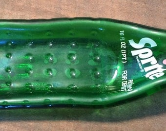 Vintage Sprite Bottle, Slumped Bottle Spoon Rest, Recycled Pop Bottle, Sprite Bottle, Recycled Bottle, Slumped Sprite Bottle