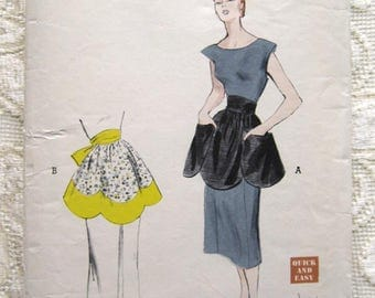 50s Easy Tea Apron. Butterick 5531 Sewing Pattern.  One Size