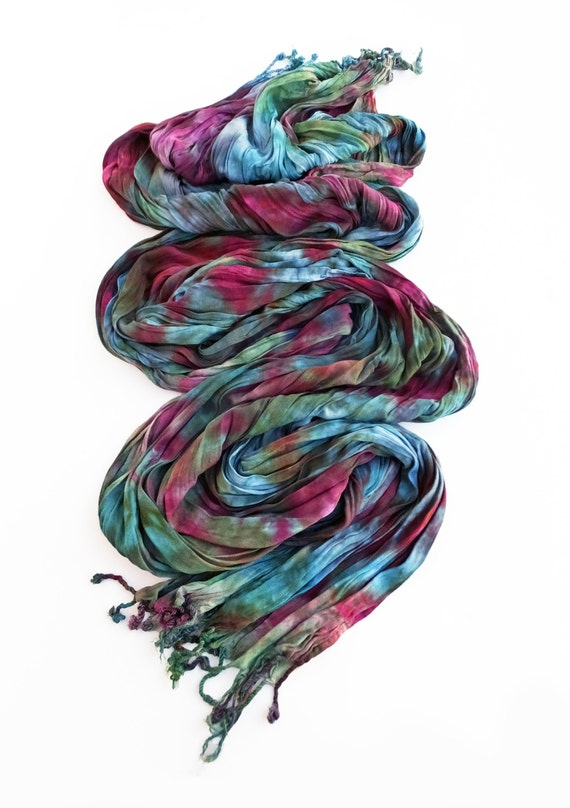"Multi-colored crinkle scarf - fringe scarf - crinkle scarf - red violet, green, blue, teal, turquoise, purple, avocado  - hand dyed -20""x70"""