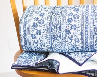 Indigo block print quilts - Block print - Indian bedspread - blockprint fabric - reversible - Navy - Geometric quilt - gifts