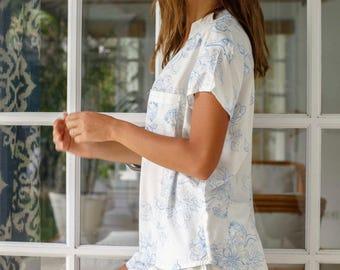 Maggie Pajama Set - Magnolia BLUE - Code P043 / P005