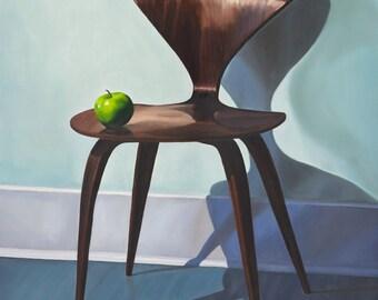 midcentury modern cherner chair u0026 green apple giclee print