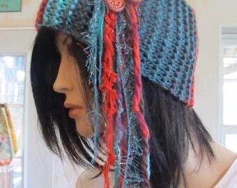 Hippie Boho Headband Ear Warmer Muff Knitted Turquoise Aqua Rust Orange Yarns, Flower Ceramic Charms Beaded Women's Winter Accessory