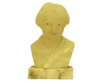 Art Deco Translucent Alabaster Child Head Bust. Child Portrait Sculpture on Marble Base.