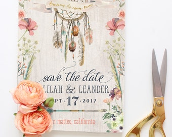 Dreamcatcher Save the Date Cards - Boho Save the Dates - Printable Floral Tribal Save the Dates