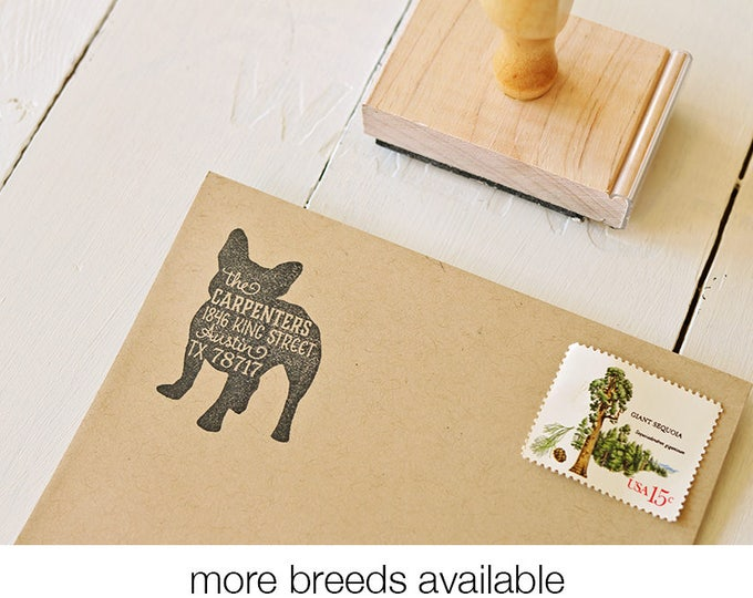 Featured listing image: Dog Return Address Stamp - Custom Dog Breed Rubber Stamp - Personalized Pet Address Stamp - French Bulldog - More Breeds Available