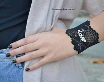 Cuff Bracelets,  Lace Wristbands, Black  Wristband, Lace Bracelets, Love   Bracelet, Rihenstone Bracelets, Womens Bracelets, Stone Bracelet