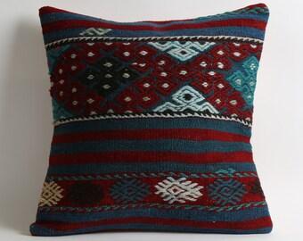 blue kilim pillow, designer pillow, moroccan pillow, turkish kilim, boho pillow, home decor, vintage kilim pillow, kilim cushion,blue pillow