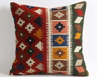 16x16 turkish kilim pillow cover, kilim pillow, vintage pillow, decorative pillow, pillow, bohemian pillow, kilim, kilim cushion cover