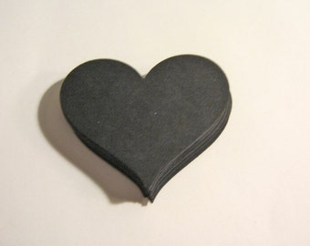 70pcs Black Heart Die Cut Paper 1 7/8 x 1 1/2 inch Scrapbooking
