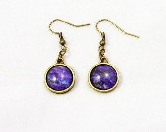 Purple Universe Glass Dangle  Earrings