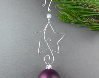 FIVE Beaded Christmas Ornament Hooks Wire Ornament Hangers