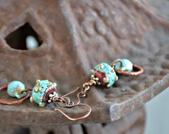 mixed media unique boho assemblage wire wrapped glass art belly dancer bells verdigris earrings . . .