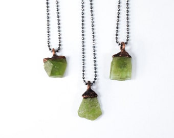 Peridot necklace | Raw peridot necklace | Electroformed peridot necklace | Sterling Silver peridot necklace