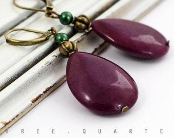 Earrings, drop, aubergine, purple, olive green, antique, bronze, vintage, romantic, violet, olive, wedding, oriental, hippie, elegant