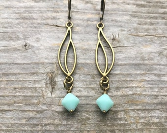 Brass Open Flame Dangle Earrings With Mint Crystals