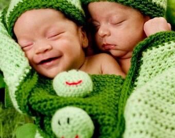 Twin Pea Pod Baby Cocoon - two peas in a pod - Crochet