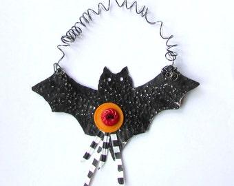Black Metal Bat Ornament - Halloween Bat Ornament - Recycled Metal Ornament - Eco Friendly Ornament