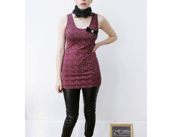 Grunge festival punk Purple Ant Print Body Con vest Dress