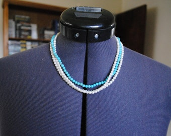 Vintage Pearl and Turquoise Multi Strand Necklace with Gold Clasp