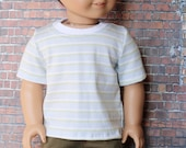 American Boy Doll Clothes - Blue Green White Stripe BOY Short Sleeve T-SHIRT Tee Top for 18 Inch Doll such as American Girl Doll