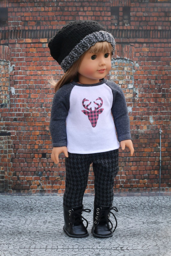 Doll Clothes | Trendy Red and Black Buffalo Plaid Deer Graphic Long Sleeve Fitted BASEBALL TEE for 18 Inch Doll such as American Girl Doll