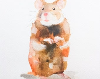 HAMSTER, Original painting, no print, watercolor of a little hamster, nursery art, kids decor, 8x10inch, Real painting made by Ninja Heevel
