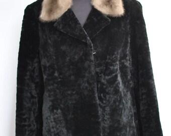 Vintage LAMB FUR COAT with mink fur collar .......(309)