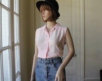 SILK blouse pale pink light pink sleeveless handmade vintage blouse summer top plain pink pastel soft color silk satin - Size M