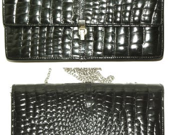 1970s 70s Black Alligator Leather Purse / chain Strap / Made France / shoulder bag / small