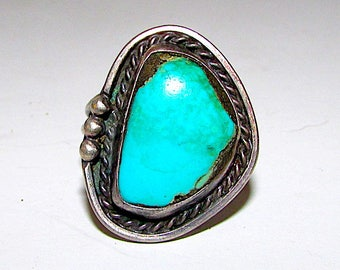 Old Pawn Navajo Sterling Silver Turquoise Statement Ring Size 6