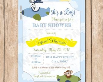Animal Pilot Baby Shower Invitation | Boy, Elephant, Monkey, Giraffe, Safari, Jungle, Plane, Aviator - 1.00 each printed or 12.00 DIY file