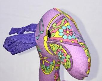 Purple Butterfly Print Giraffe Rattle