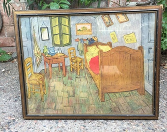 "Vintage Lithograph Print from the 1940s of Vincent Van Gogh's ""Bedroom in Arles"" in Distressed Original Frame"