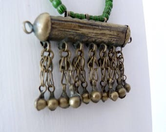 Green necklace made of old beads, African trade beads with Afghan trailer