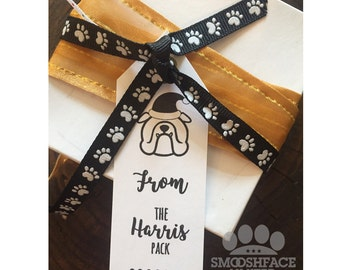 Custom gift tag stamp - rubber mounted with wooden handle - DIY gift tags - you choose Smooshface breed - dog holiday fun!