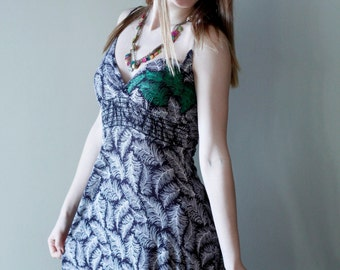 Palm tree dress with macrame and paint, Sun dress with palm tree pattern, Upcycled clothes, Recycled clothes, #V094