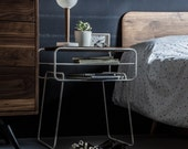 Nightstand / Bedside table, white lacquered iron and oak, mid-century, modern, retro