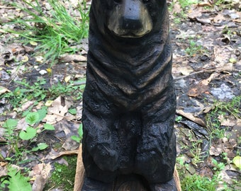 Bear Wood Carving, Chainsaw Carving, Handmade Woodworking, Wood Art, Birthday Gift, Home Decor, Hand Carved Wood Art, Wood Sculpture, Carte