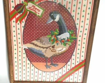 Vintage Christmas Goose Crewel Embroidery Needlepoint Handmade Duck Picture Wall Hanging Holiday Kitsch Decor White Elephant Gift Epsteam