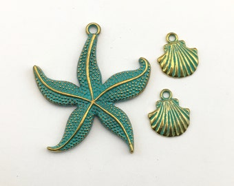 3 sea charms  green patina,18mm to 48mm #CH 636